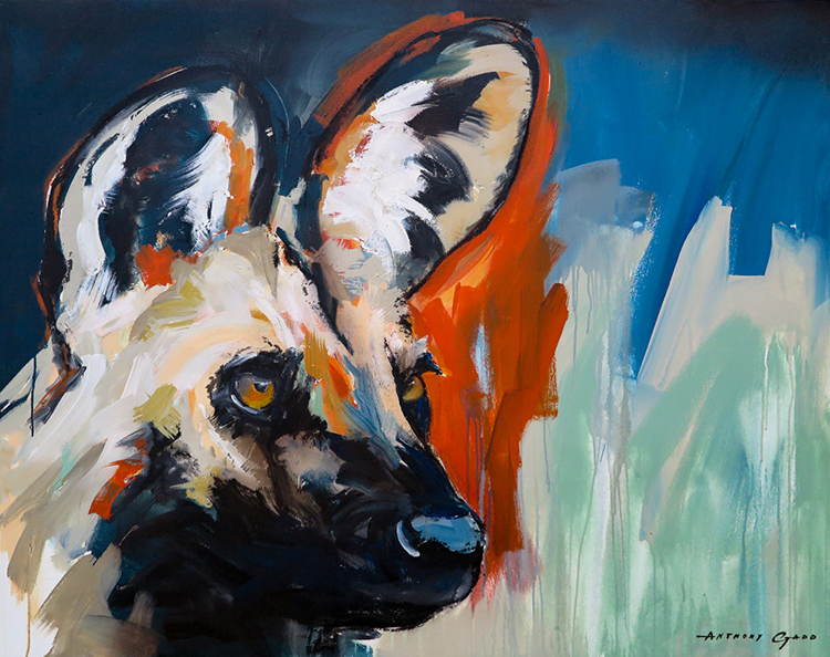 Anthony-Gadd.-African-Wild-Dog-II.-Acrylic-on-canvas.-1100mm-x-1400mm