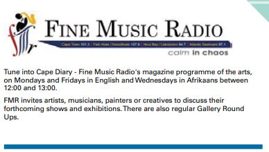 Cape Diary, Gallery Round Up, Fine Music radio